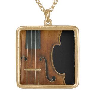 Stradivari Close-Up in Gold-Tone Frame Square Pendant Necklace