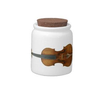 Stradivari Reproduced on Ceramic Canister Candy Jar
