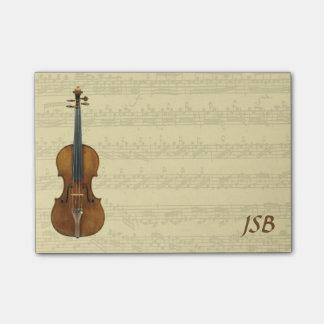 Stradivari Violin Bach Partita Manuscript Monogram Post-it® Notes