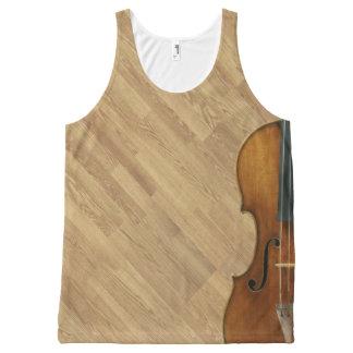 Stradivari Violin on Wood Panel Effect All-Over Print Tank Top