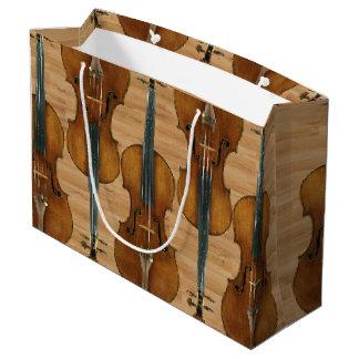 Stradivari Violin Quintet on Wood Panel Effect Large Gift Bag