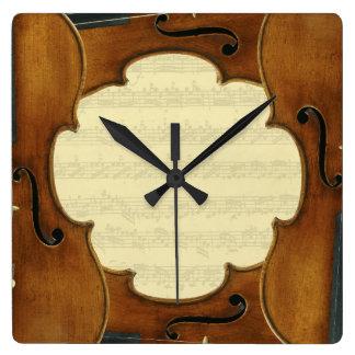 Stradivari Violins Bach Partita Music Manuscript Square Wall Clock