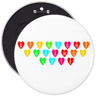 Straight Against Hate Rainbow Hearts Buttons