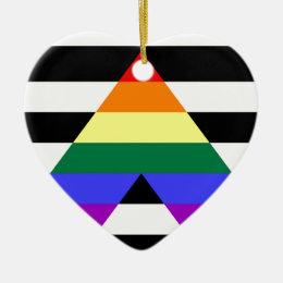 Straight Ally flag Ceramic Ornament