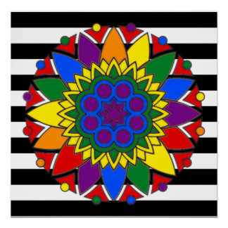 Straight Ally Flag Colors LGBT Supporter Mandala Poster