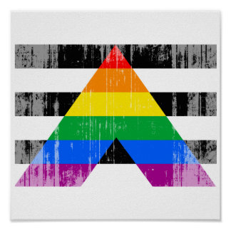 Straight Ally Flag distressed.png Print