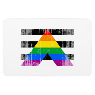 Straight Ally Flag distressed.png Rectangular Photo Magnet