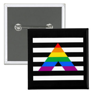 Straight Ally Flag LGBT Gay Supporter Button