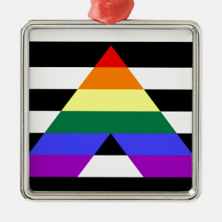 Straight Ally flag Metal Ornament