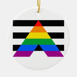 Straight Ally Flag Christmas Ornament