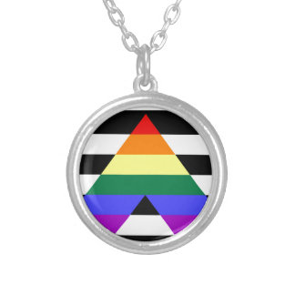 Straight Ally flag Silver Plated Necklace