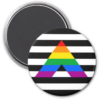 Straight Ally Pride 3 Inch Round Magnet