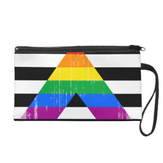 Straight Ally Pride distressed Wristlet Clutch