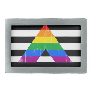 Straight Ally Pride distressed Belt Buckle