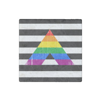 Straight Ally Pride distressed.png Stone Magnet