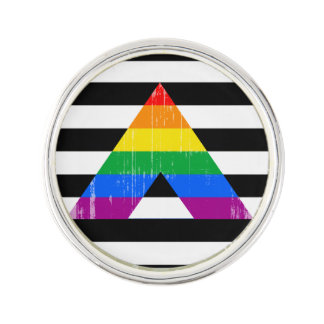 Straight Ally Pride distressed.png Lapel Pin