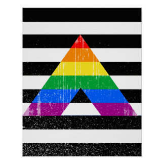 Straight Ally Pride distressed Poster