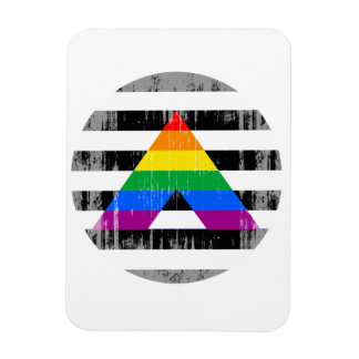 Straight Ally Pride Round distressed.png Rectangular Photo Magnet