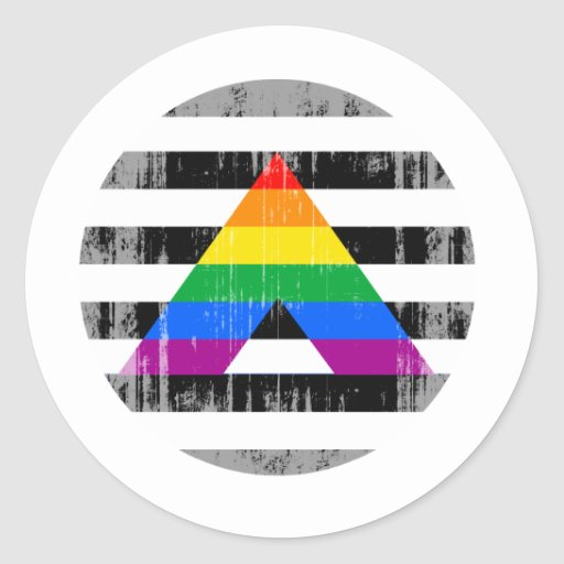 Straight Ally Pride Round distressed.png Classic Round Sticker