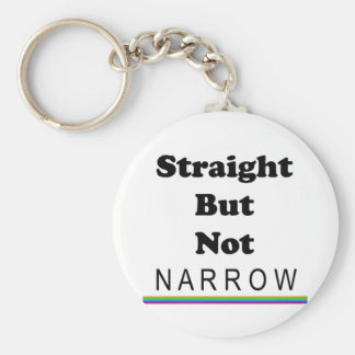 Straight But Not Narrow Basic Round Button Keychain