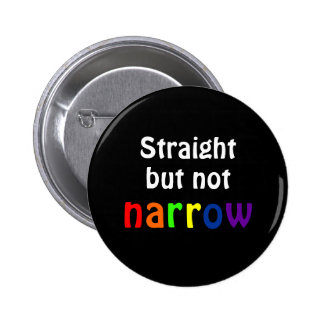 Straight but not narrow (black background) pinback button