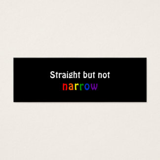 Straight but not narrow (bookmark, dark) mini business card