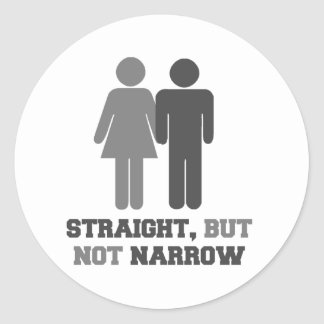 Straight but not narrow classic round sticker