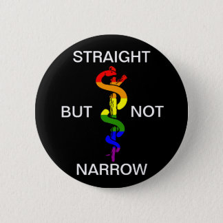 Straight But Not Narrow Rainbow Health Coalition Pinback Button