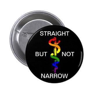 Straight But Not Narrow Rainbow Health Coalition Pinback Button