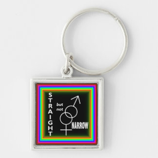Straight but not Narrow Silver-Colored Square Keychain