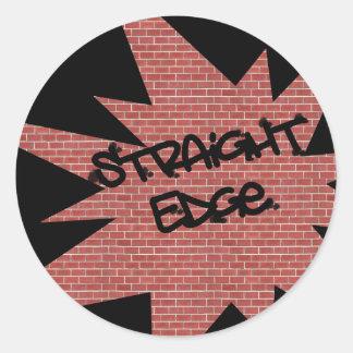 Straight Edge Brick Wall Classic Round Sticker