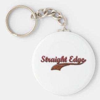straight-edge-red-fancy basic round button keychain