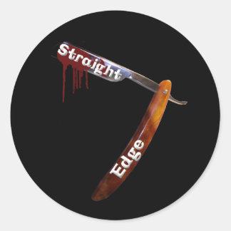Straight Edge Straight Razor Classic Round Sticker