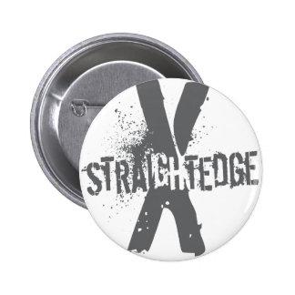 Straight Edge X dark grey 2 Inch Round Button