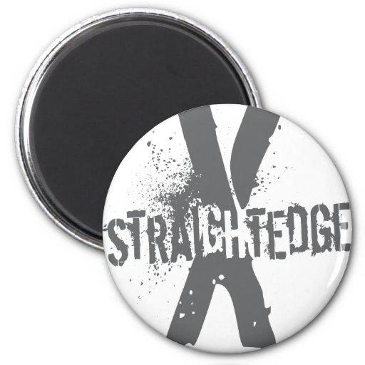 Straight Edge X dark grey 2 Inch Round Magnet