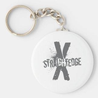 Straight Edge X dark grey Keychain
