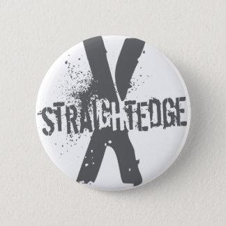 Straight Edge X dark grey Pinback Button