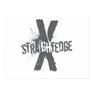 Straight Edge X dark grey Postcard