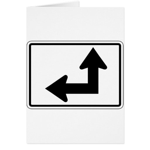 Straight Left Street Sign Greeting Card