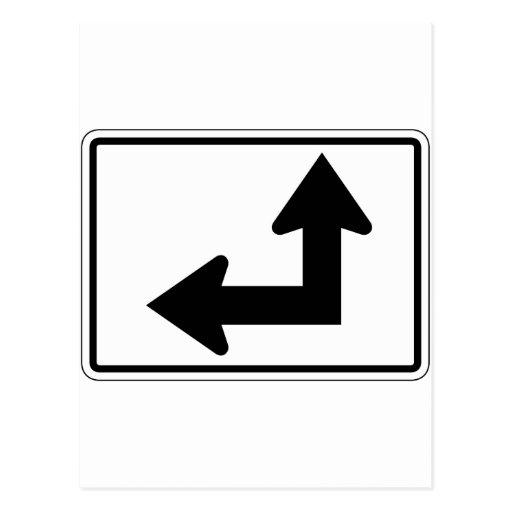 Straight Left Street Sign Postcard