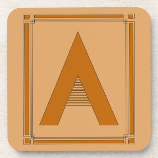 Straight lines art deco with monogram, letter A Beverage Coaster