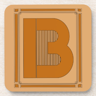 Straight lines art deco with monogram, letter B Coaster