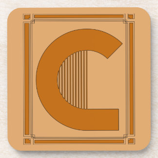 Straight lines art deco with monogram, letter C Coaster