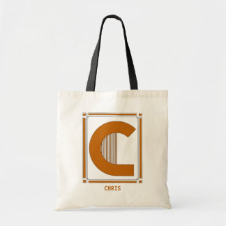 Straight lines art deco with monogram, letter C Tote Bag