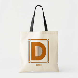 Straight lines art deco with monogram, letter D Budget Tote Bag