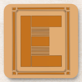 Straight lines art deco with monogram, letter E Coaster