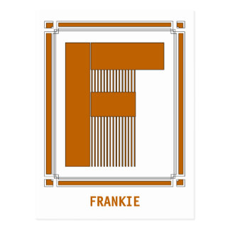Straight lines art deco with monogram, letter F Postcard