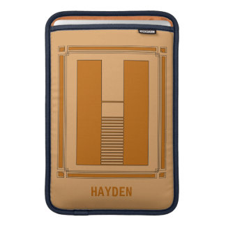 Straight lines art deco with monogram, letter H MacBook Sleeves