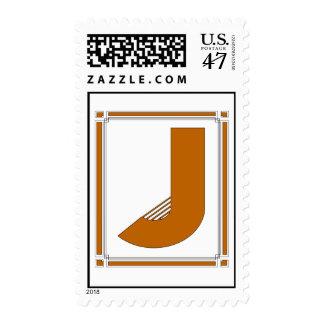 Straight lines art deco with monogram, letter J Postage