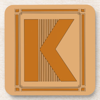 Straight lines art deco with monogram, letter K Beverage Coaster